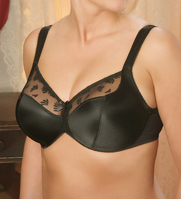 Aviana 2457 Satin and Lace Minimizer Bra (Black)