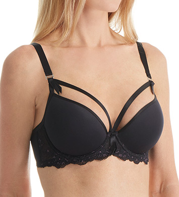 Dita Von Teese Y50945 Madame X Satin and Lace Moulded Underwire Bra (Black)