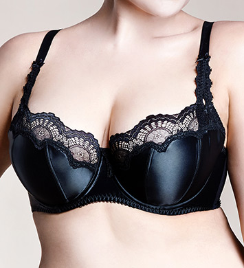 Dita Von Teese Y98955 Star Lift Satin and Lace Full Figure Bra (Black)