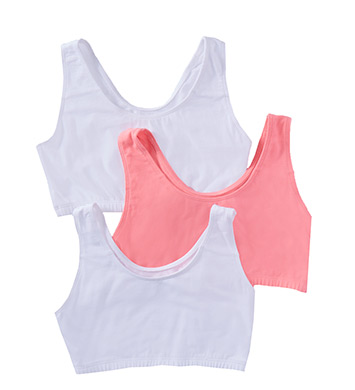 Fruit Of The Loom 9012 Tank Style Sports Bra - 3 Pack (White/White/Pink)