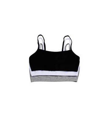 Fruit Of The Loom 9036 Spaghetti Strap Short Bra - 3 Pack (White/Black/Grey)
