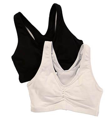 Hanes H570 Cotton Pullover Bra - 2 Pack (Black/White)