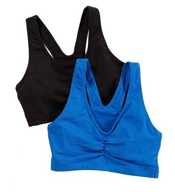 Hanes H570 Cotton Pullover Bra - 2 Pack (Black/Velvet Evening)