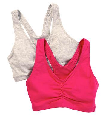 Hanes H570 Cotton Pullover Bra - 2 Pack (Heather Grey/Purple)