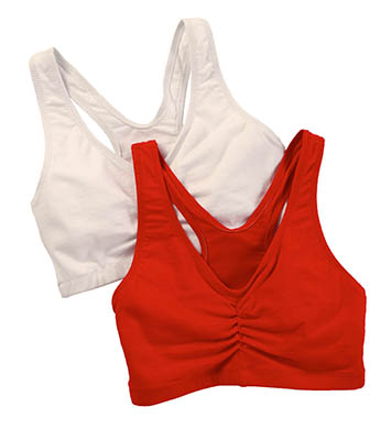 Hanes H570 Cotton Pullover Bra - 2 Pack (White/Formula One Red)