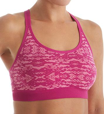 Jockey 8784 Geo Snake Seamless Cami Sports Bra (Fuchsia/Ballet Pink)