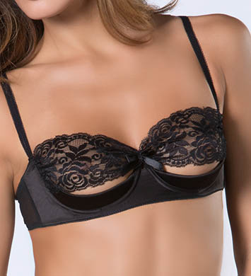 Oh La La Cheri 3127 Lace and Satin Shelf Bra (Black)