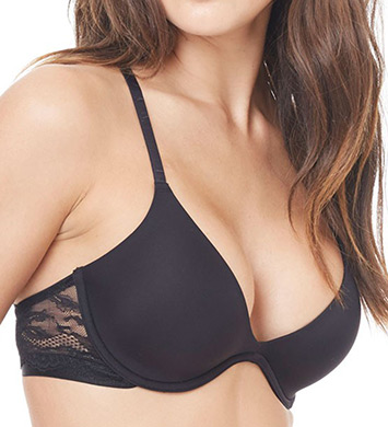 OnGossamer G3933 Beautifully Basic Lace Back Plunge Bra (Black)