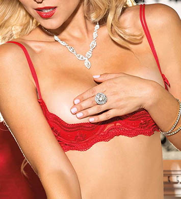 Shirley of Hollywood 331 Scalloped Embroidery Shelf Bra (Red)
