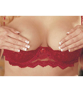 Shirley of Hollywood X324 Plus Size Chopper Lace Shelf Bra (Red)