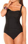 Shirred Front One Piece Tummy Control Swimsuit