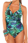 Butterfly Shirred Halter One Piece Swimsuit