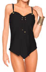 Aerin Rose Solid Cardigan Underwire One Piece Swimsuit BLCK303