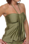 Aerin Rose Gilded Drape Bandeau Blouson Tankini Swim Top GILD200