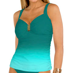 Aerin Rose Ombre Emerald Underwire Shirred Tankini Top OMEM229