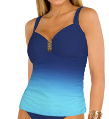 Aerin Rose Ombre Lapis Underwire Shirred Tankini Swim Top OMLA229