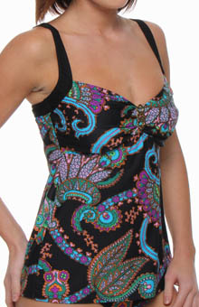 Aerin Rose Tangiers Over-Shoulder Underwire Tankini Swim Top