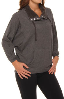 Cozy Sherpa Trim Long Sleeve Sweatshirt