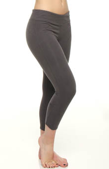 Rib Inset Legging Capri