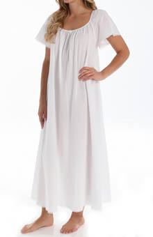 Short Sleeve Long Gown with Eyelet Trim