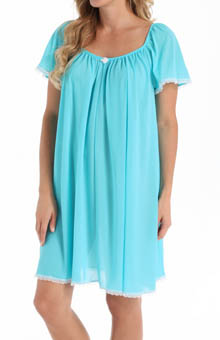 Amanda Rich Short Sleeve Knee Length Nightgown