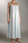 Long Spaghetti Strap Cotton Gown w/Eyelet Trim