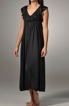 Long Gown with Ruffle V-Neck