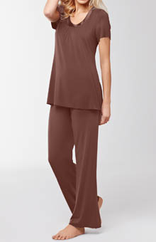 Amoena Short Sleeve Satin Trim Pajama Set 1015