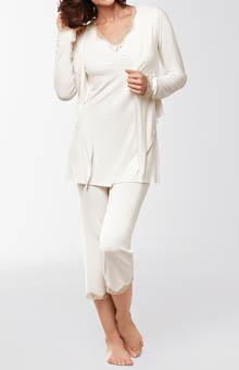 Amoena Short Sleeve Lace Pajama Set 1018