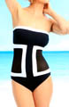 Color Block Mesh Bandeau One Piece Swimsuit Image
