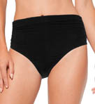 Solid Convertible High Waist Shirred Swim Bottom Image