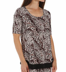 Anne Klein Animal Elbow Sleeve Top 8410409