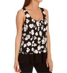 Anne Klein Black & White Sleeveless Top w/ Soft Bra 8510382