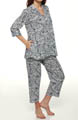 Anne Klein Every Day 3/4 Sleeve Cropped Navy Animal PJ Set 8710295