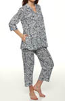 Every Day 3/4 Sleeve Cropped Navy Animal PJ Set