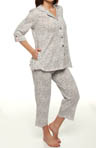 Anne Klein Every Day 3/4 Sleeve Grey Animal Cropped PJ 8710300