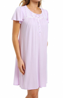 Aria Dreaming In Pastels Solid Short Sleeve Short Gown 8014831