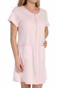 Aria Solid Diamond Short Sleeve Zip Robe 8114856