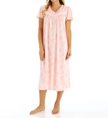 Aria Printed Soft Jersey Cap Sleeve Ballet Nightgown 8414874