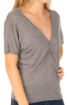 Pleated Draped Cropped Tee