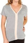Brushed Jersey Silk Banded V-Neck Top