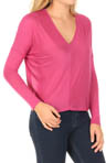 Bella Luxx Long Sleeve V-Neck Seamed Front Top BL3087