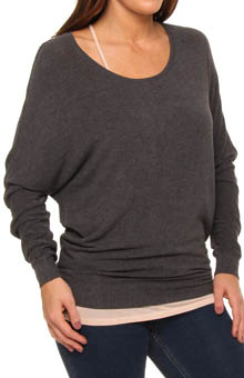 Lite Weight Scoop Neck Dolman Sleeve Knit Top
