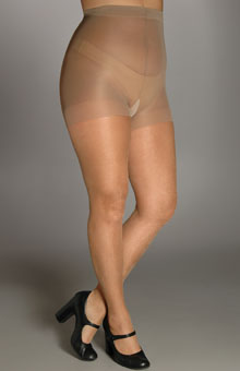 Shimmers Plus Size Control Top Sheer Toe