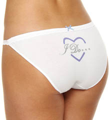 Stretch Cotton With Lace Side String Bikini Panty