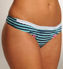Betsey Johnson Intimates : Betsey Johnson Intimates 722316 Going On Stripe Cotton Low Rise With Lace Thong