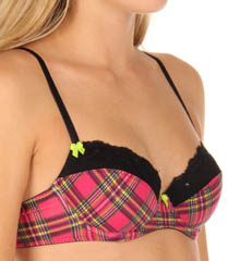 Stretch Cotton Demi Plaid Bra With Sequin Lace
