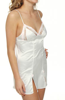 Sultry Stretch Satin And Lace Slip Chemise