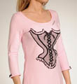 Betsey Johnson Intimates Stretch Cotton Sleepshirt with Flocked Corset 733473