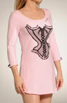 Stretch Cotton Sleepshirt with Flocked Corset